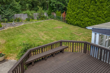 backyard with large wooden deck