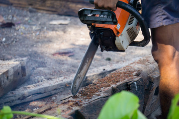 Man uses gasoline engine portable chainsaw cut timber into pieces. Some parts of the man body in the picture.