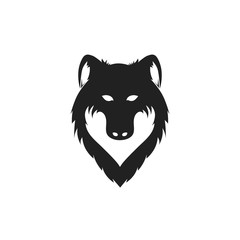 Wolf head black silhouette on white background. Vector illustration.