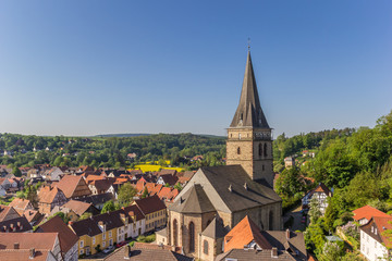 Church tower and surrounding landscape in Warburg, Germany