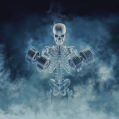 The phantom bodybuilder / 3D illustration of scary fitness skeleton lifting heavy dumbbells emerging through smoke