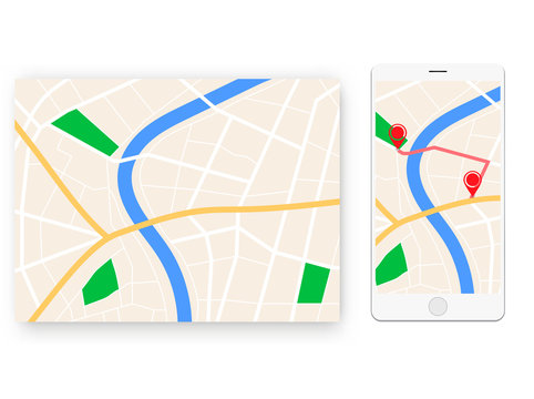 mobile map navigator with streets and city