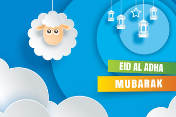 Eid Al Adha Mubarak celebration card with sheep in paper art blue background. Use for banner, poster, flyer, brochure sale template.