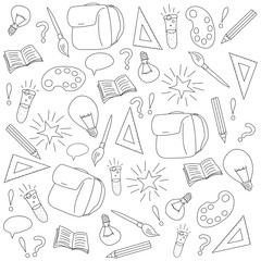 Back to school hand drawn pattern background