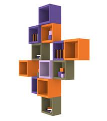 Modernes Wohnen: Regal aus Würfeln in trendigen Farben aus Seitenansicht auf weiß isoliert. 3d render