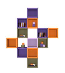 Modernes Wohnen: Regal aus Würfeln in trendigen Farben aus Vorderansicht auf weiß isoliert. 3d render