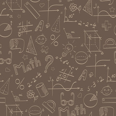 Seamless pattern on the theme of the school, of education and of the subject mathematics, the beige hand-drawn graphics, formulas, and icons on brown background
