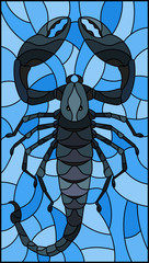 Illustration in stained glass style with abstract black Scorpion on blue background