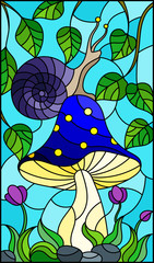 Illustration in stained glass style snail on the mushroom , on the background branches with leaves , grass and sky