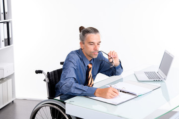 disabled business man in wheelchair