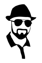 Hipster detailed  beard with sunglasses and hat. Fashion bearded man face isolated on white background. Vector silhouette.