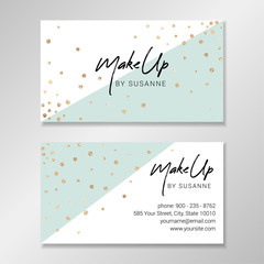 Vector modern customizable business card. Easy to customize with your own text. Business card design with white and pale mint geometric shapes and faux gold foil confetti.