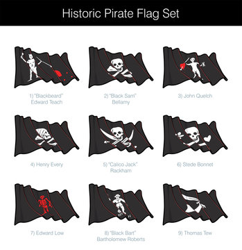 Historic Pirate Waving Jolly Roger Set