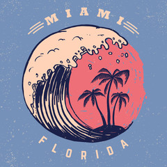 Miami. Poster template with lettering and palms.