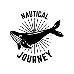 Nautical journey. Emblem template with whale illustration. Design element for sign, badge, t shirt, poster.