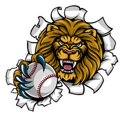 Lion Holding Baseball Ball Breaking Background
