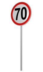 Deutsches Verkehrszeichen: Geschwindigkeitsbegrenzung 70 km/h, auf weiß isoliert, 3d render