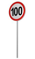 Deutsches Verkehrszeichen: Geschwindigkeitsbegrenzung 100 km/h, auf weiß isoliert, 3d render