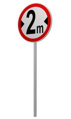 deutsches Verkehrsschild: tatsächliche Breite, 2 m. 3d render