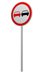 Deutsches Verkehrszeichen: Überholverbot, auf weiß isoliert, 3d render