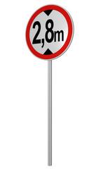 deutsches Verkehrsschild: tatsächliche Höhe, 2.8m. 3d render
