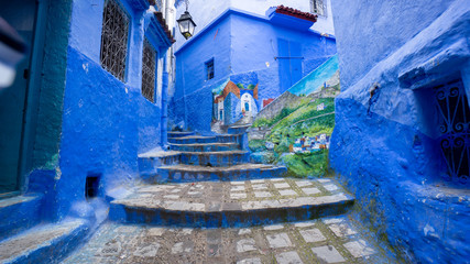 Deurstickers Beautiful blue medina of Chefchaouen city in Morocco, North Africa
