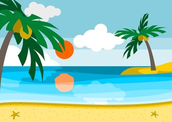 Editable Summer Beach Landscape with Flat Style Vector Illustration