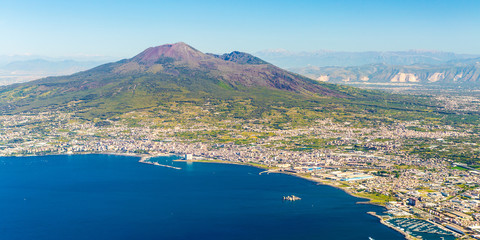 Fotobehang Napels Napoli (Naples) and mount Vesuvius in the background at sunrise in a summer day, Italy, Campania