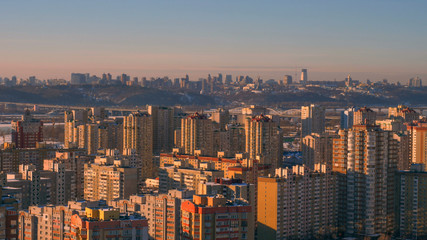 a modern city, view from the roof of a tall house