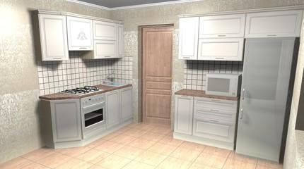 beige kitchen in classic style 3D rendering interior design