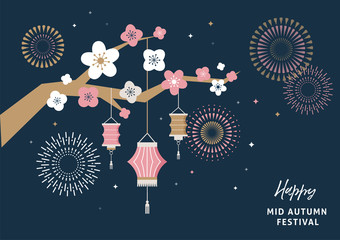 Happy Mid Autumn Festival. Chuseok, Chinese wording translation: Mid Autumn. Vector banner, background and poster