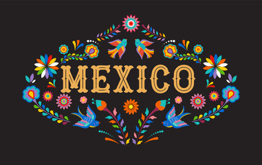 Mexico background, banner with colorful Mexican flowers, birds and elements Wall mural