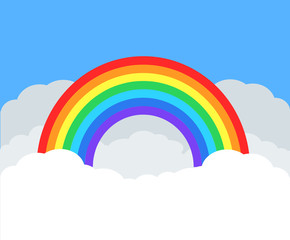 Colorful rainbow in white cloud on blue sky, stock vector illustration