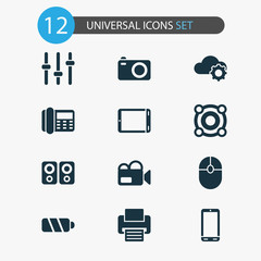 Gadget icons set with loudspeaker, palmtop, phone and other click  elements. Isolated vector illustration gadget icons.