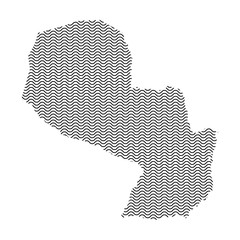 Paraguay map country abstract silhouette of wavy black repeating lines. Contour of sinusoid curve. Vector illustration.