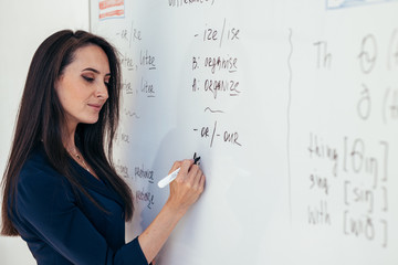Learn english language. Teacher near whiteboard explains the rules.