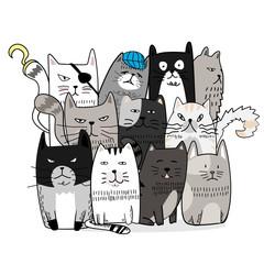 Cute cat hand drawn cartoon style
