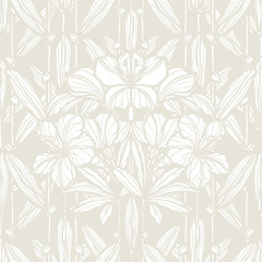 Floral seamless pattern. Flowers lilly illustration