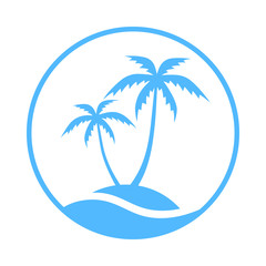 Resort logo with sea and coconut palms view. Icon tropical island. Vector illustration.