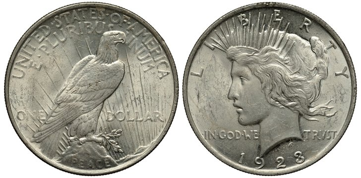 United States silver coin 1 one dollar 1923, eagle in sunrays, Liberty head left, date below,