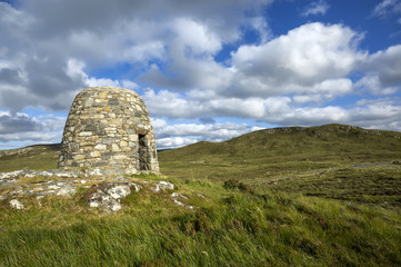 The Memorial Cairn to the Pairc Raiders Rembering the Land Heros, People of Lochs, of Lewis. Scotland, UK.