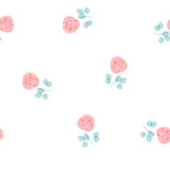 Cute hand painted watercolor roses, seamless pattern on white background