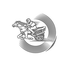emblem with a rider on a horse, motorbike and inscription.