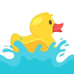 yellow rubber duck splashing water