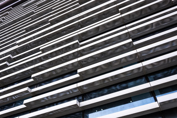 looking up to glass building. Modern architecture, glass and steel. Abstract architectural design. Inspirational, artistic image. Industrial design. .Modern building.