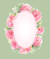 Watercolor pink tea rose peony flower floral composition frame border template background