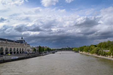 gloomy clouds over Paris. Cloudy stormy sky over the city. A storm warning