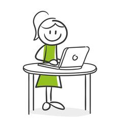 Stick Figure Series Green Woman / Frau am Laptop