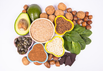 Products containing magnesium. Healthy food. White background.