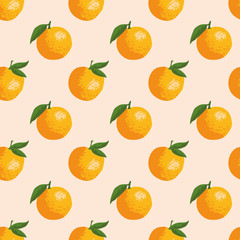 Vector summer pattern with oranges. Seamless texture design.